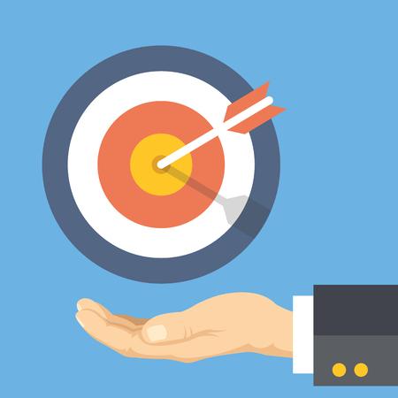 metas: Objetivo de mercado. Palma humana y el objetivo con la flecha