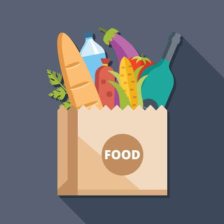 shopping bag vector: Paper bag with food flat illustration concept
