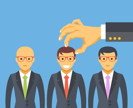 to the right: Hand picking the best candidate. Employment, recruitment, searching professional staff, human resources. Flat illustration