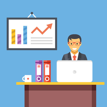 vector arrow: Office work. Office worker at desk in office room. Vector flat illustration