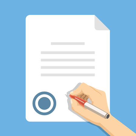 Sign document. Hand holding pen and signing document, sheet of paper, business contract. Vector flat illustration