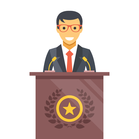 podium: Speaker at podium. Man in suit standing at rostrum. Vector flat illustration