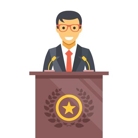 Spreker op podium. Man in kostuum dat zich op podium. Vector flat illustratie