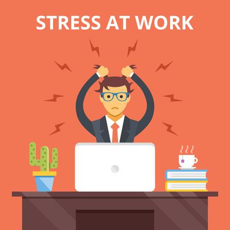 estrés: El estrés en el trabajo. Estrés situación concepto. Vector ilustración plana