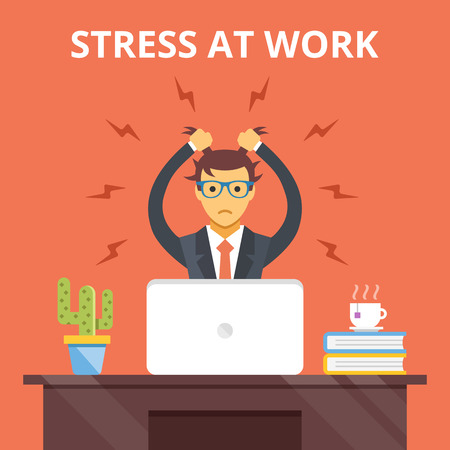 man with laptop: Stress at work. Stress situation concept. Vector flat illustration Illustration