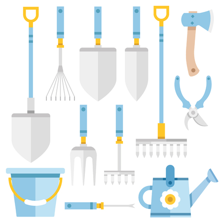yards: Gardening tools set, gardening items and equipment. Flat icons set. Creative vector illustration