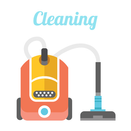 Vacuum cleaner. Cleaning flat illustration concept