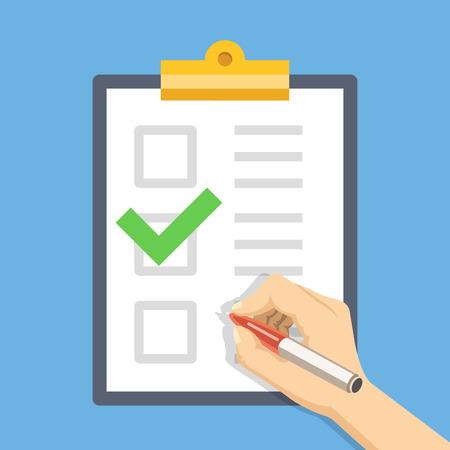 Hand met pen en klembord met checklist. Vul het formulier concept. Flat illustratie