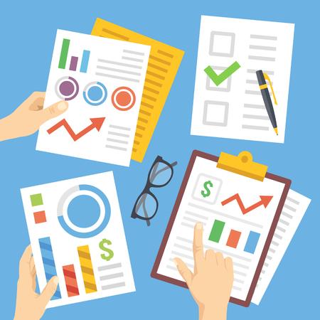 Handen met financiële documenten, papieren, financiële grafieken, rapporten. Platte illustratie