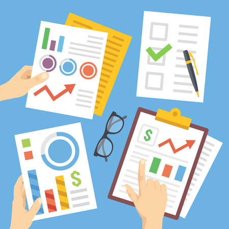 financial team: Hands with financial documents, papers, financial charts, reports. Flat illustration
