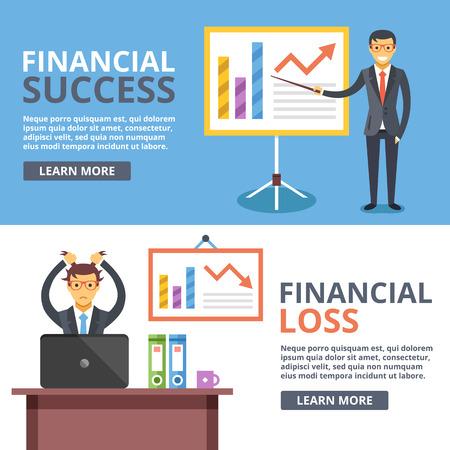 exito: El éxito financiero, pérdidas financieras ilustración plana conceptos ajustado. Situaciones de negocios