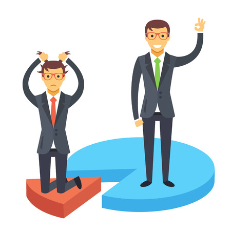 disappointed: Happy and disappointed businessmen standing on chart pieces. Business success and failure. Flat illustration Illustration