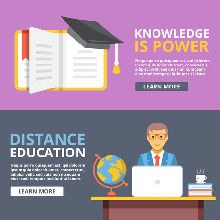 study icon: Knowledge is power, distance education flat illustration concepts set