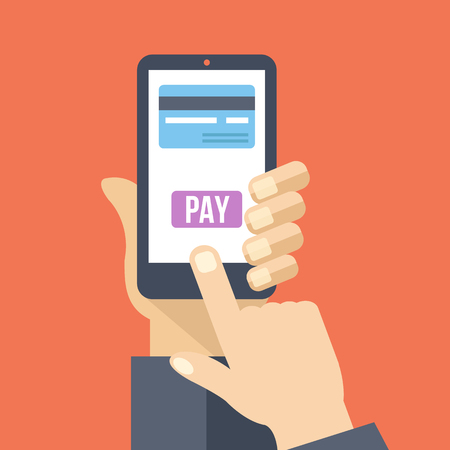 smartphone hand: Mobile payment. Hand holds smartphone with online banking. Vector flat illustration