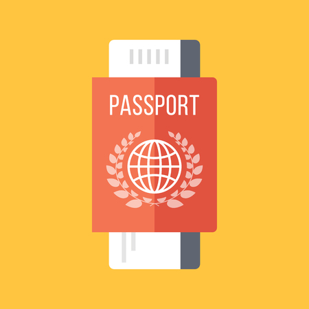ides: Red passport and boarding pass, airline ticket. Travel concept