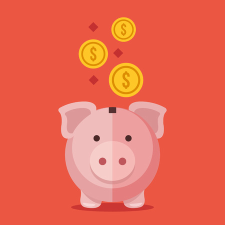 cerdos: Banco y monedas de oro Piggy. Dise�o plano Ilustraci�n moderna del vector Vectores