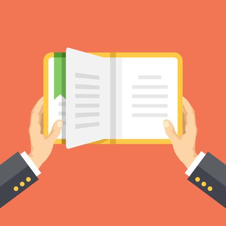 book mark: Hands holding the book. Reading concept. Vector flat illustration Illustration