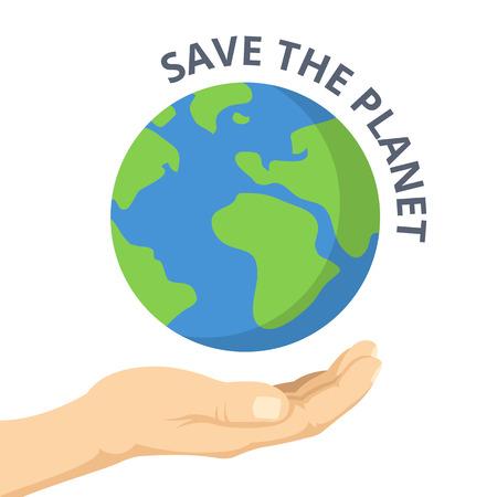 惑星を保存します。手のひらと地球。ベクトル フラット図