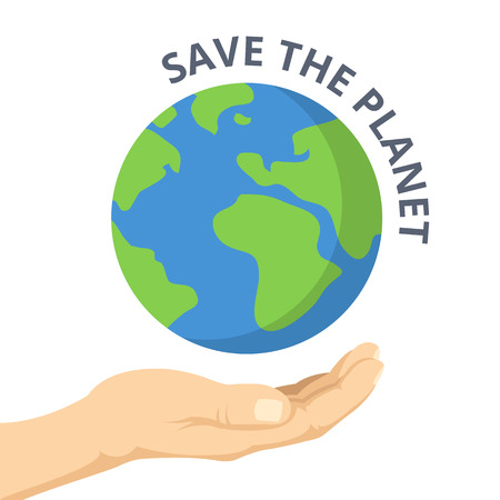planet earth: Save the planet. Hand palm and Earth. Vector flat illustration
