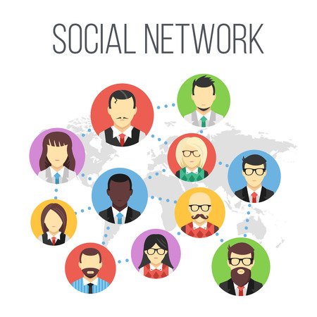 world group: Social network flat illustration