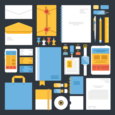 note book: Stationery and office supplies flat icons set
