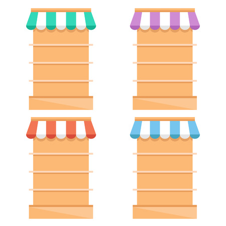 retail display: Grocery store fixtures and shelving flat illustration. Empty supermarket shelves