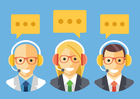 centre: People with headset. Technical support, customer support, call center staff. Vector flat illustration Illustration