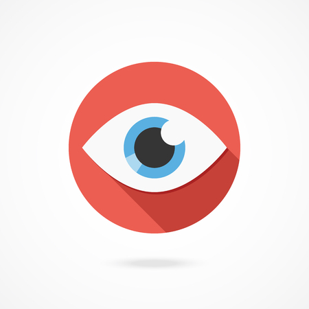 icon red: Vector eye icon. Modern flat style design   with long shadow. Isolated on white gradient background