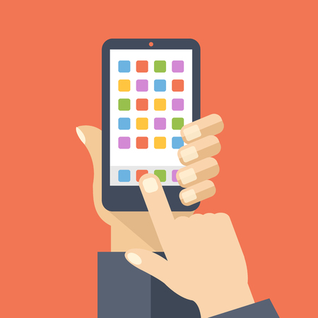 Application icons and buttons on smartphone home screen. Flat illustration