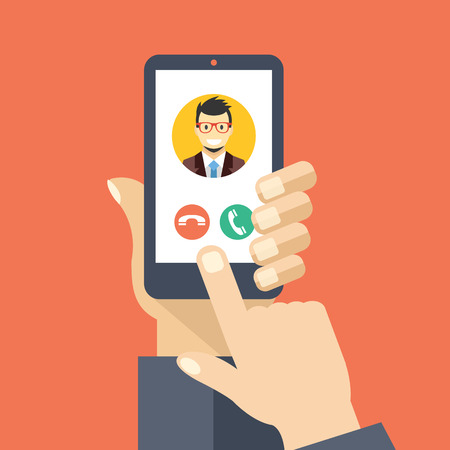 smartphone business: Incoming call on smartphone screen. Creative flat design vector illustration