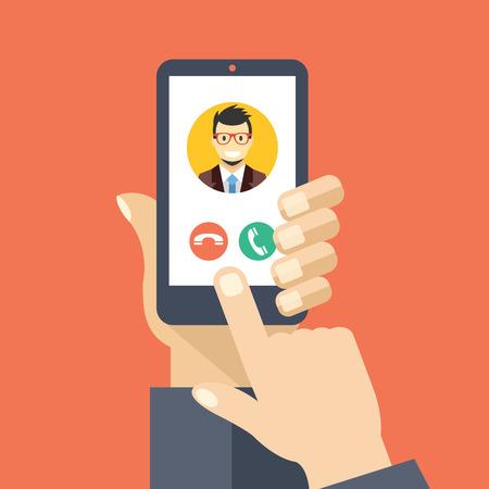 dedo: llamada entrante en la pantalla del tel�fono inteligente. dise�o plano ilustraci�n vectorial creativa
