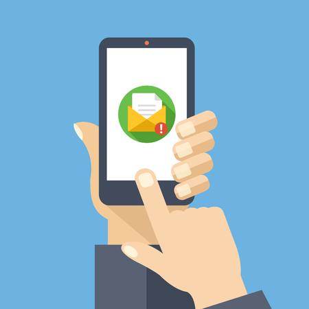 Mail app on smartphone screen. New message is received. Creative flat design vector illustration Stock Illustratie