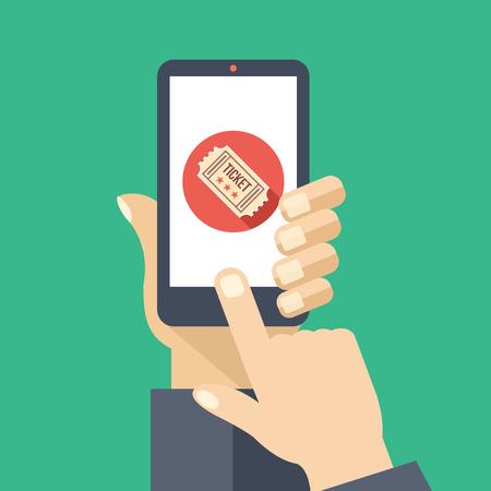 dedo indice: Billetes de aplicación en la pantalla del smartphone. entradas de cine servicio. diseño plano ilustración vectorial creativa