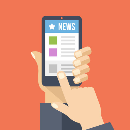 phone hand: News app on smartphone screen. Online digital media. Creative flat design vector illustration