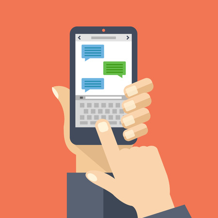 sms: Texting app on smartphone screen. Messaging service. Hand holds smartphone, finger touch screen. Modern concept for web banners, web sites, infographics. Creative flat design vector illustration