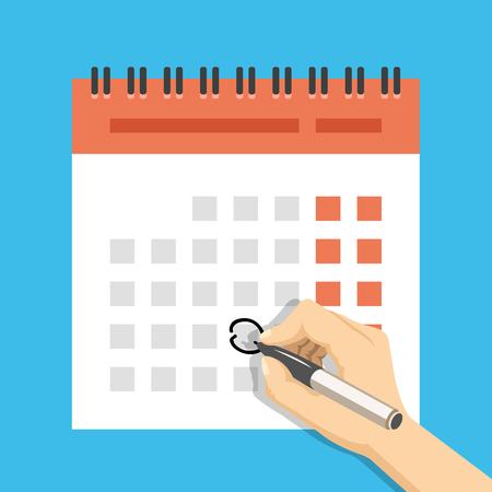 Hand mit Stift Zeichen-Kalender. Wichtige Veranstaltungskonzept. Moderne Flach Design-Konzepte für Web-Banner, Webseiten, Drucksachen, Infografiken. Kreative Vektor-Illustration Vektorgrafik
