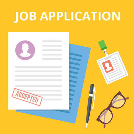 list of successful candidates: Job application flat illustration concept. Top view. Creative vector illustration Illustration