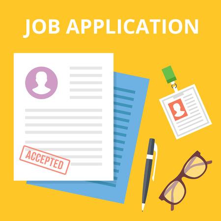 job application: Job application flat illustration concept. Top view. Creative vector illustration Illustration