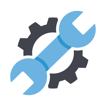 Repair service icon. Black cog and blue wrench icon concept. Repair