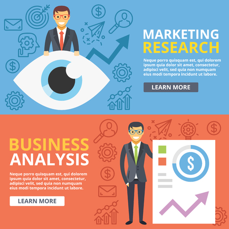 marketing research: Marketing research, business analysis flat illustration web banners set. Creative vector illustration Illustration