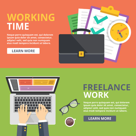 laptop vector: Working time, freelance work flat illustration concept set. Top view, front view web banners Illustration