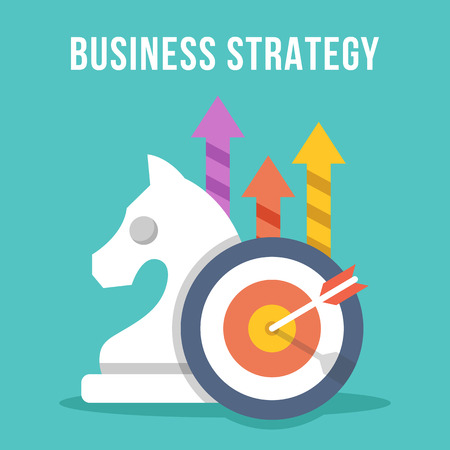 事業戦略。チェスの騎士、ターゲット、矢印、矢印のアイコン セットで成長