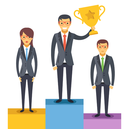 men standing: Woman and two men standing on pedestal. Man holds a golden cup. Vector illustration