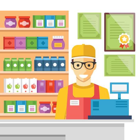 Cashier man at supermarket checkout. Flat vector illustration