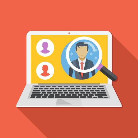 Zoek werknemer concept. Op zoek naar een professionele medewerkers. Platte ontwerp vector illustratie