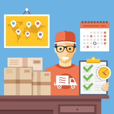 delivery service: Delivery service office. Shipping company employee at work. Flat vector illustration