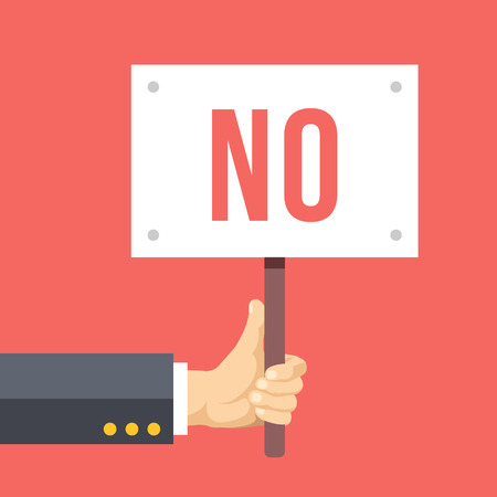 demonstration: Hands holds sign with NO word. Social protest, negative reaction. Flat vector illustration