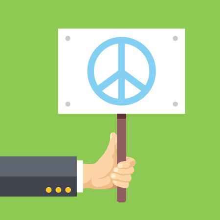 signo de paz: Las manos sostienen firmar con el signo de la paz. La paz, el pacifismo, ninguna guerra. Ilustración vectorial Flat
