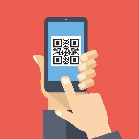 スマート フォンの画面で QR コード リーダー アプリ。QR コードをスキャンします。創造的なフラットなデザインのベクトル図