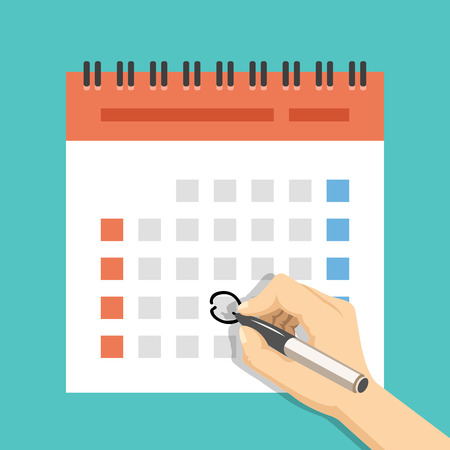 Hand with pen mark calendar. US version with week started on Sunday. Flat vector illustration